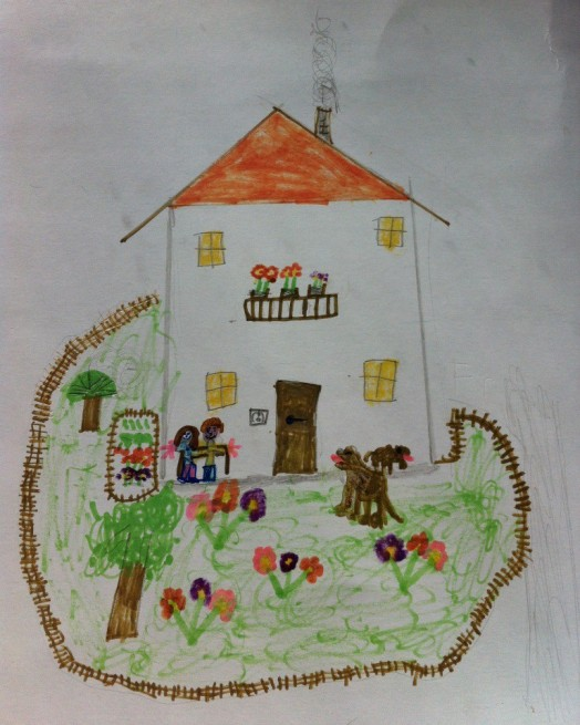 Kinderzeichnung Bauernhaus